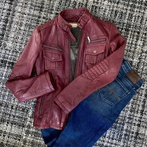 Michael Kors Oxblood Red Leather Moto Jacket